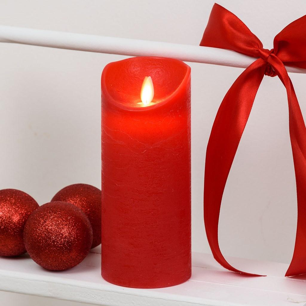 rote led wachskerze h 18 cm 7 5 cm warmwei mit timer led kerzen und teelichter. Black Bedroom Furniture Sets. Home Design Ideas