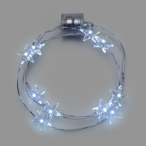 Collier Brilly 10 étoiles led blanc froid