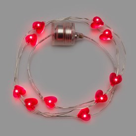 Collier Brilly 60 cm à piles, 10 coeurs led rouge