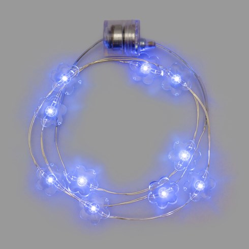 Collana Brilly 10 fleurs led bleu