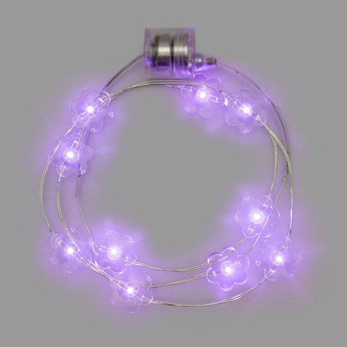 Collana Brilly 10 fleurs led pourpre