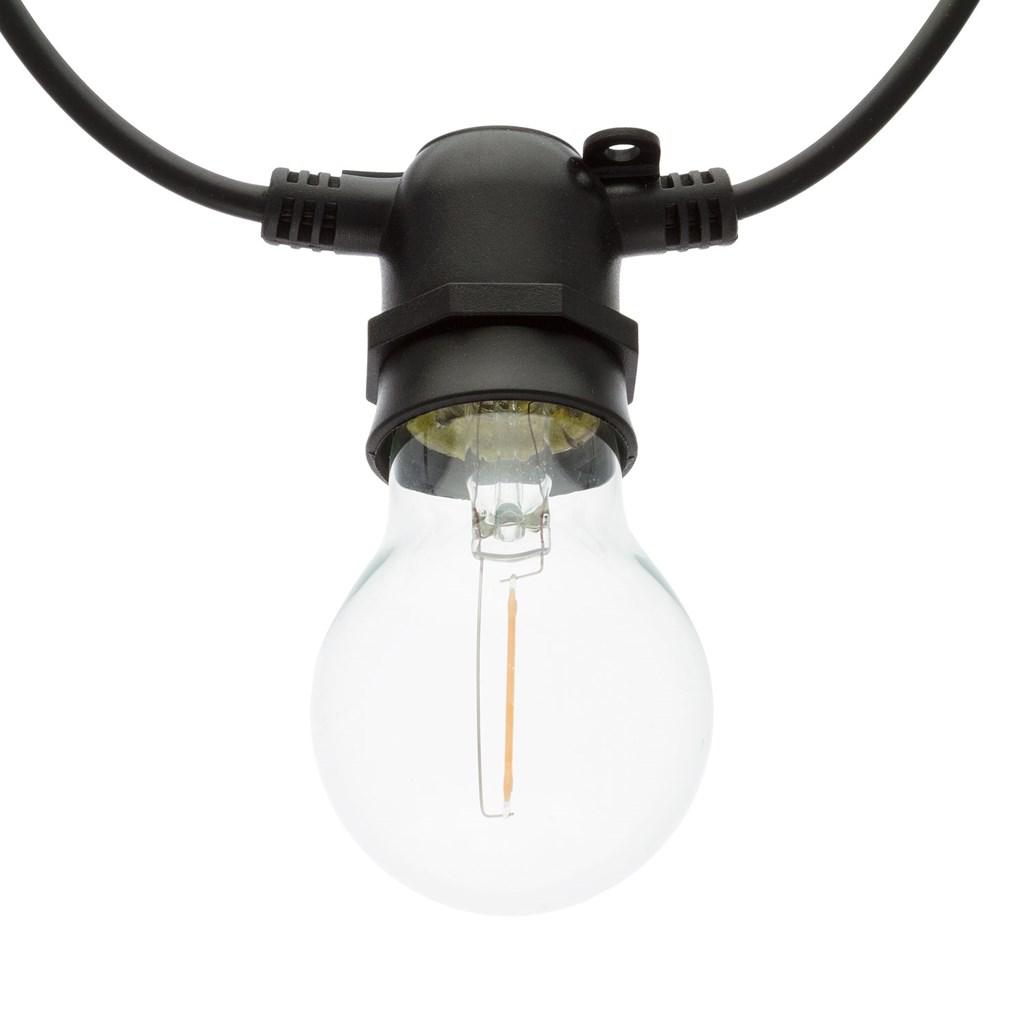 party lichterkette 5 m 10 led birnen warmwei 60 mm schwarzes kabel erweiterbar verzierte. Black Bedroom Furniture Sets. Home Design Ideas