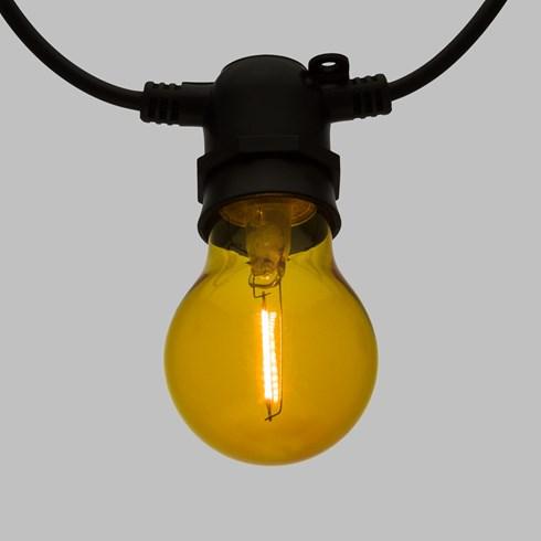 guirlande guinguette 5 m 10 ampoules en verre 6 cm e27 led blanc chaud c ble noir. Black Bedroom Furniture Sets. Home Design Ideas