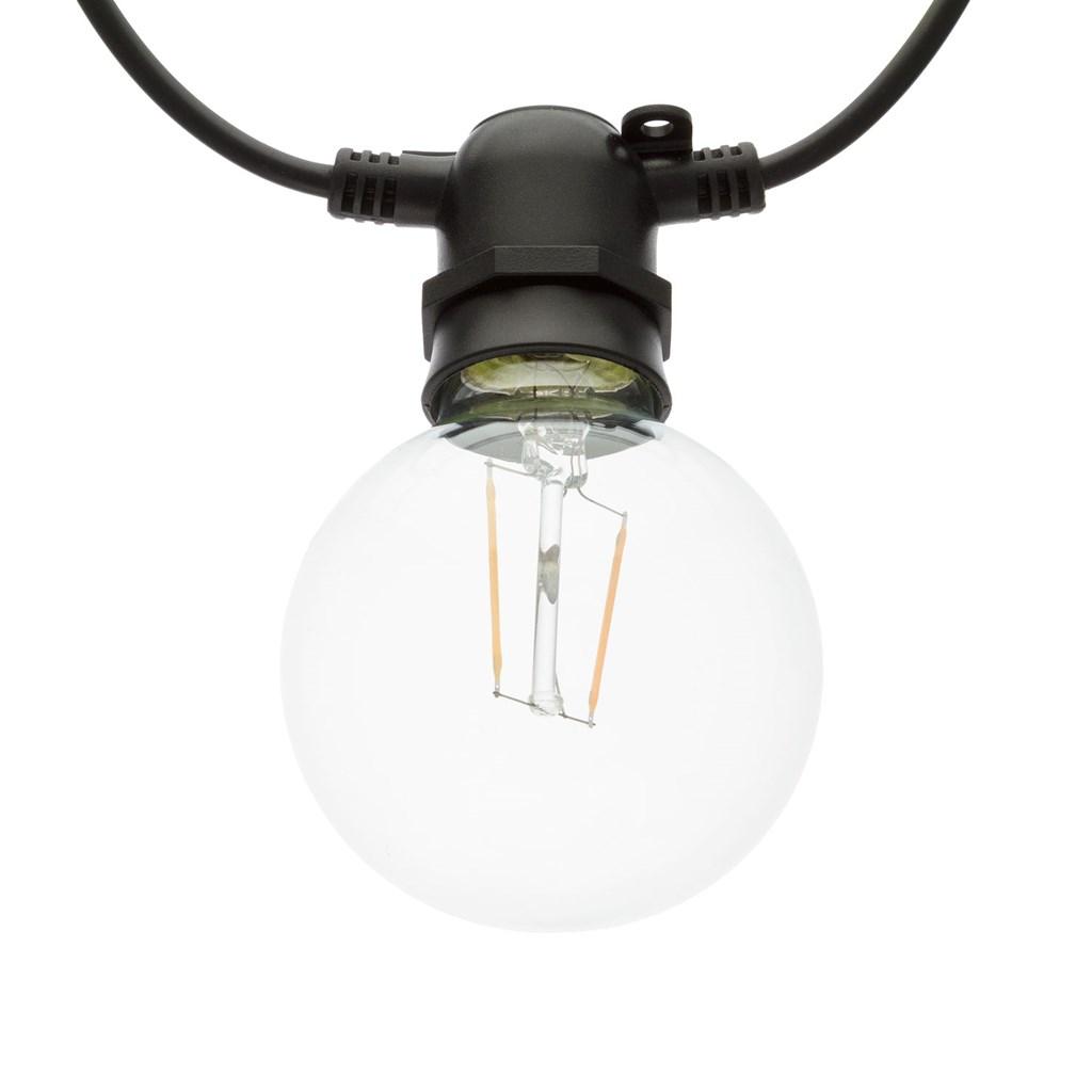 guirlande guinguette 8 m 10 ampoules en verre 8 cm e27 led blanc chaud c ble noir. Black Bedroom Furniture Sets. Home Design Ideas
