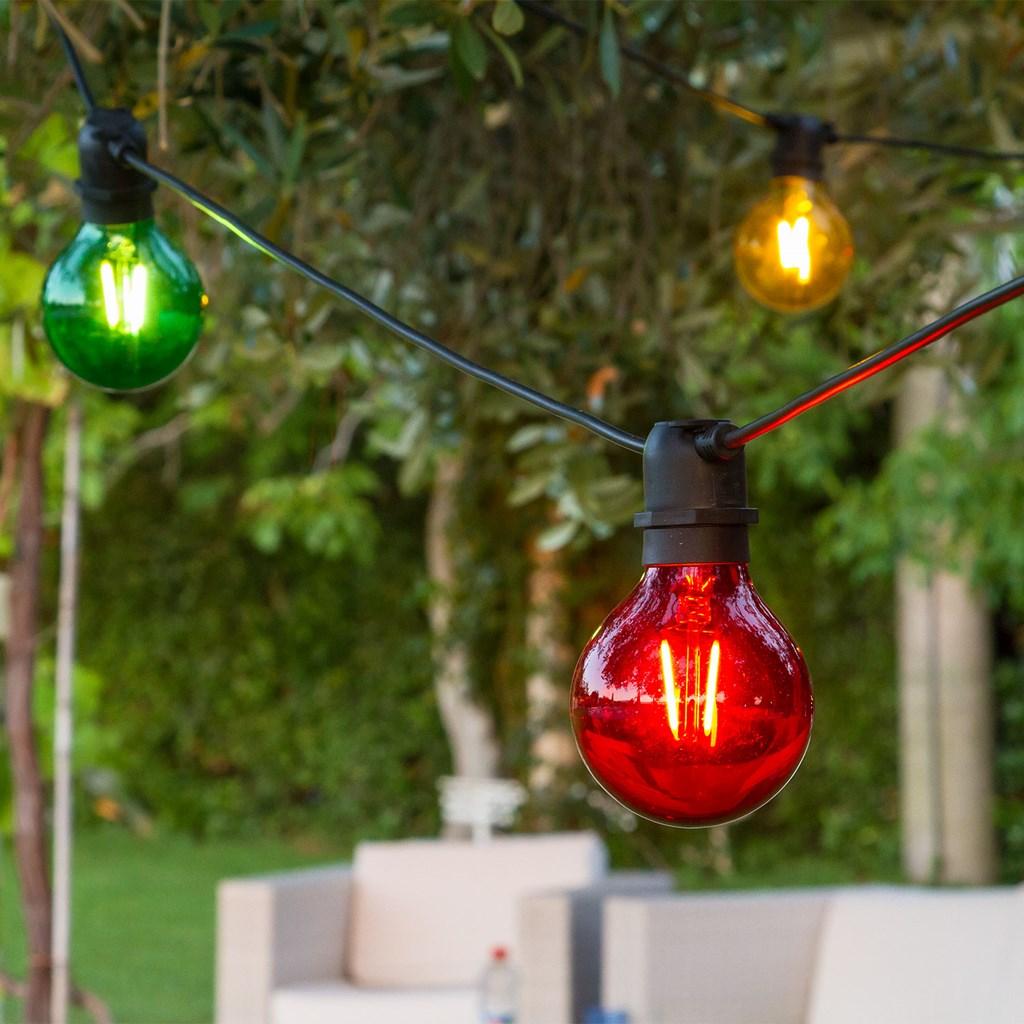 Guirnalda con 10 bombillas globo de colores e27 de vidrio - Bombillas decoradas ...