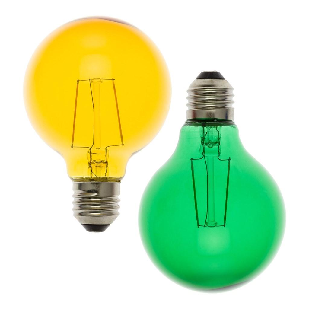 Weihnachtsbeleuchtung Aussen Ersatzbirnen.2er Set Ersatzbirnen ø 8 Cm Gelb Und Grün