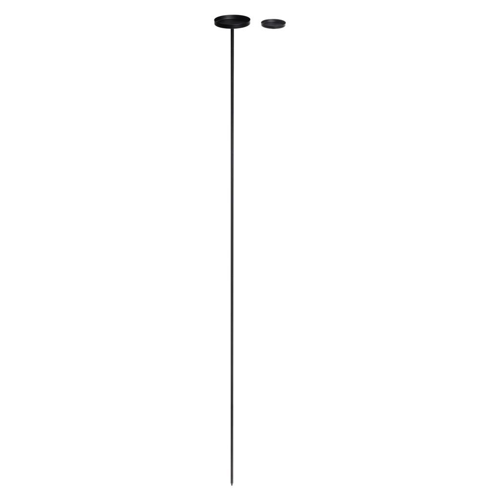 schwarzer kerzenhalter mit erdspie h 70 130 cm. Black Bedroom Furniture Sets. Home Design Ideas