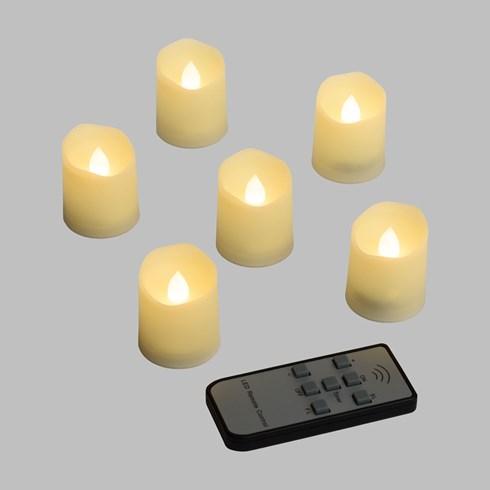 6er set led teelichter elfenbeinfarben warmwei h 4 5 cm. Black Bedroom Furniture Sets. Home Design Ideas