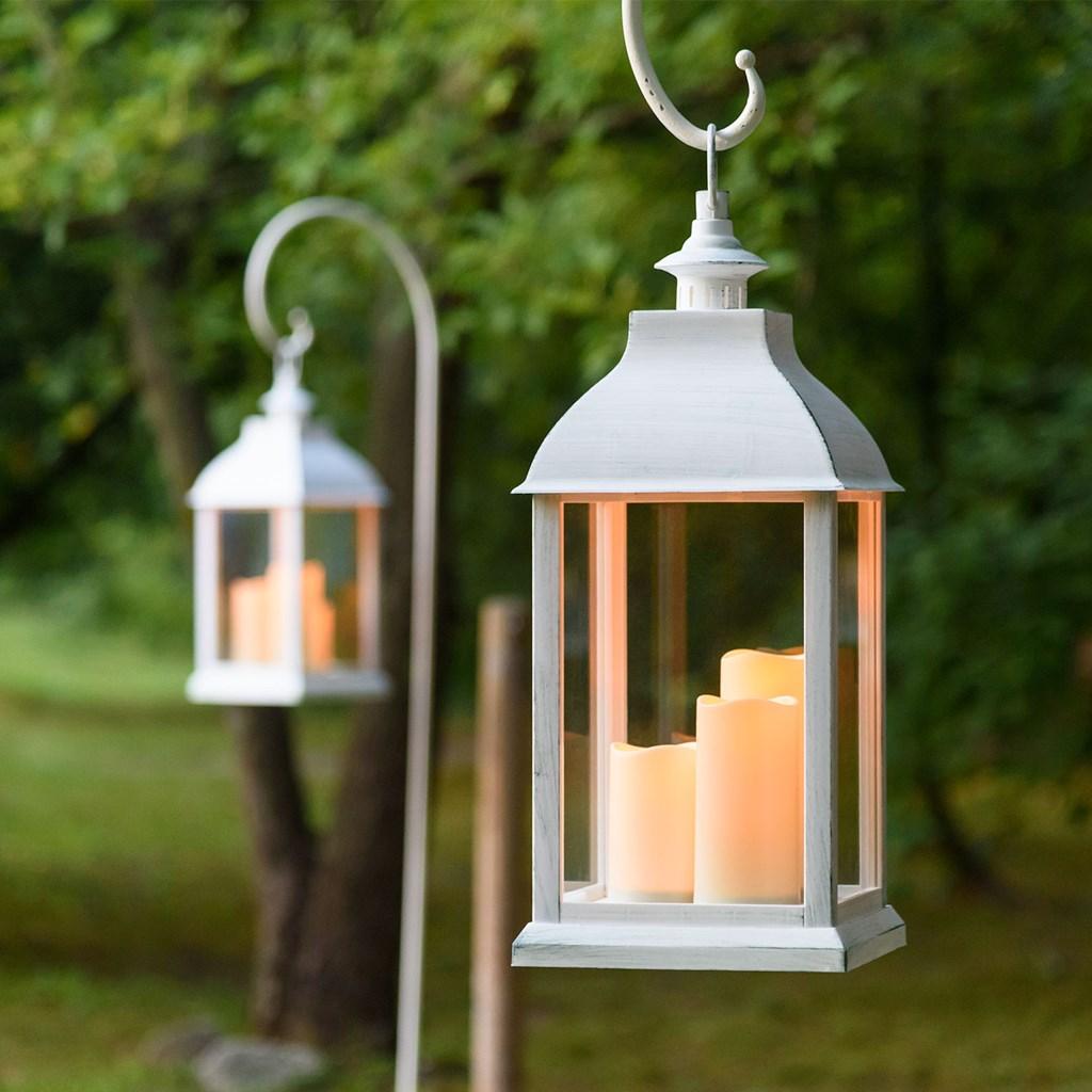 Lanterna bianco antico con 3 candele h 54 cm led bianco caldo con timer lanterne led - Candele per esterno ...