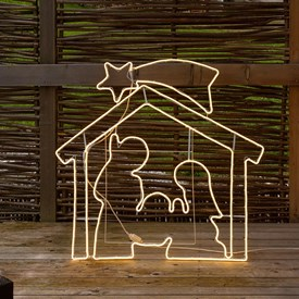 Crèche de Noël tube Néon double face, 115 x h. 115 cm, 1320 led blanc chaud