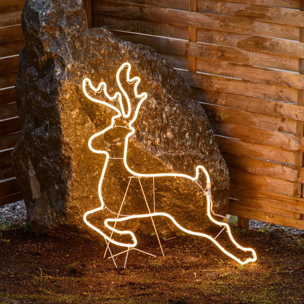 Renna galoppante in tubo luminoso 70 x h 85 cm 480 led - Renna natalizia luminosa per giardino ...