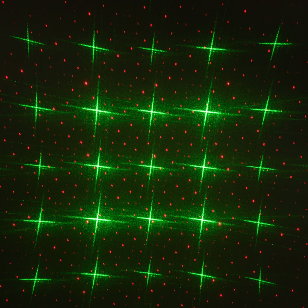 projecteur laser vert et rouge avec points et étoiles, avec capteur