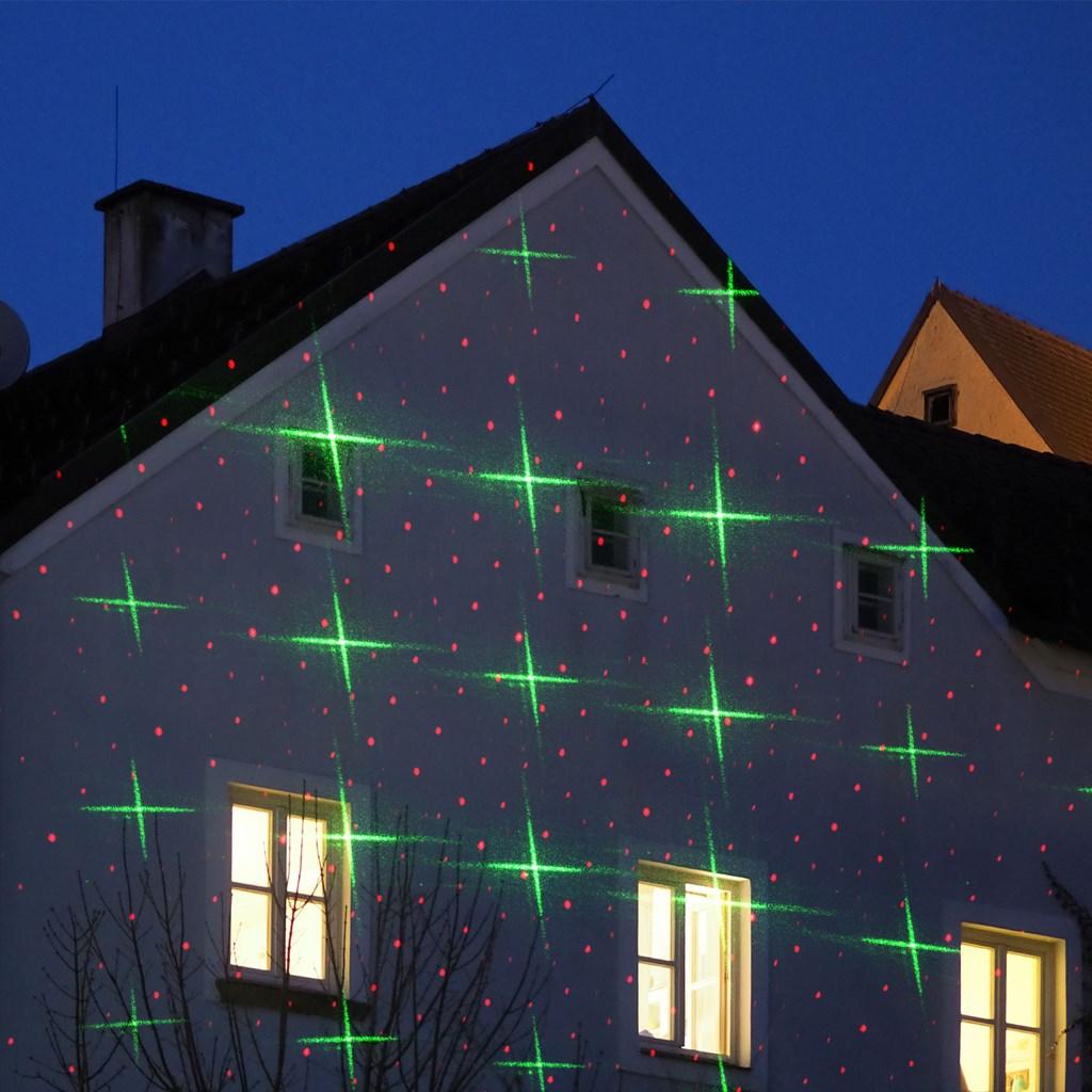 Weihnachtsbeleuchtung Außen Reduziert.Laser Projektor Rot Grün Punkte Und Sterne Mit Lichtsensor