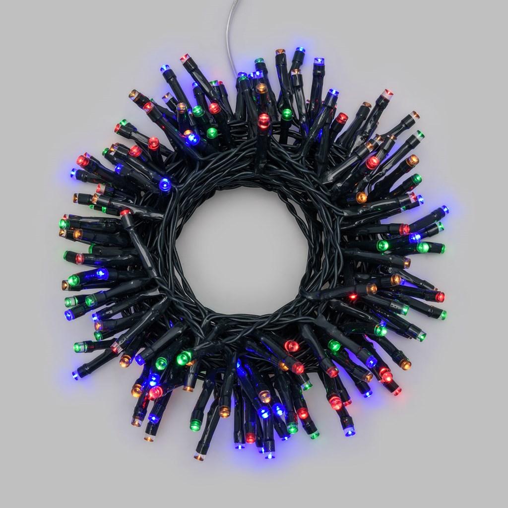 Lichterkette 7,2 m, 180 LEDs bunt, mit Timer, grünes Kabel ...