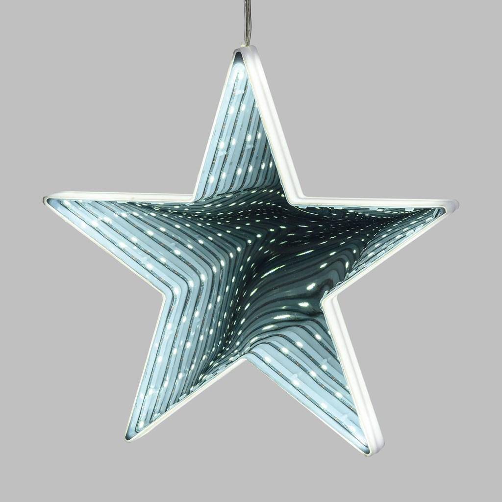 stella effetto specchio infinito 20 cm 41 led bianco freddo batteria motivi da appendere. Black Bedroom Furniture Sets. Home Design Ideas