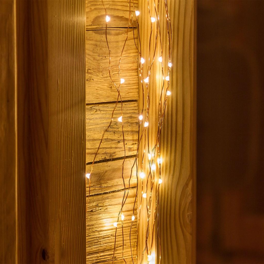 Lichterbündel 1 m, 100 MicroLEDs warmweiß, kupferfarbener Draht ...