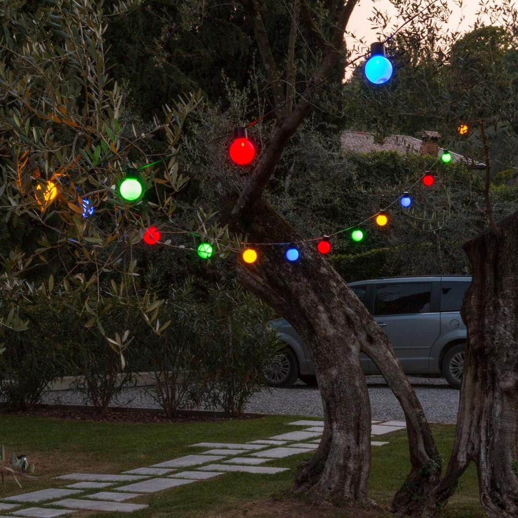 Party Dekolichterkette 10 m, 20 bunte LED-Lampen Ø 50 mm ...