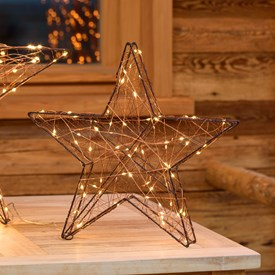 Estrella luminosa metal marrón Ø 40 x 8 cm, 80 Micro Led blanco cálido con destellos