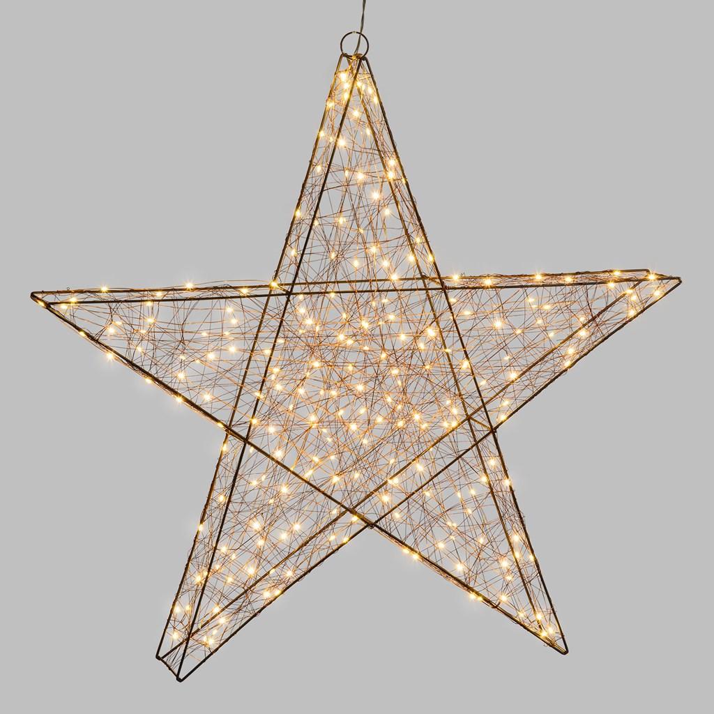 Stella Di Natale Tridimensionale.Stella Luminosa 3d 240 Microled Bianco Caldo