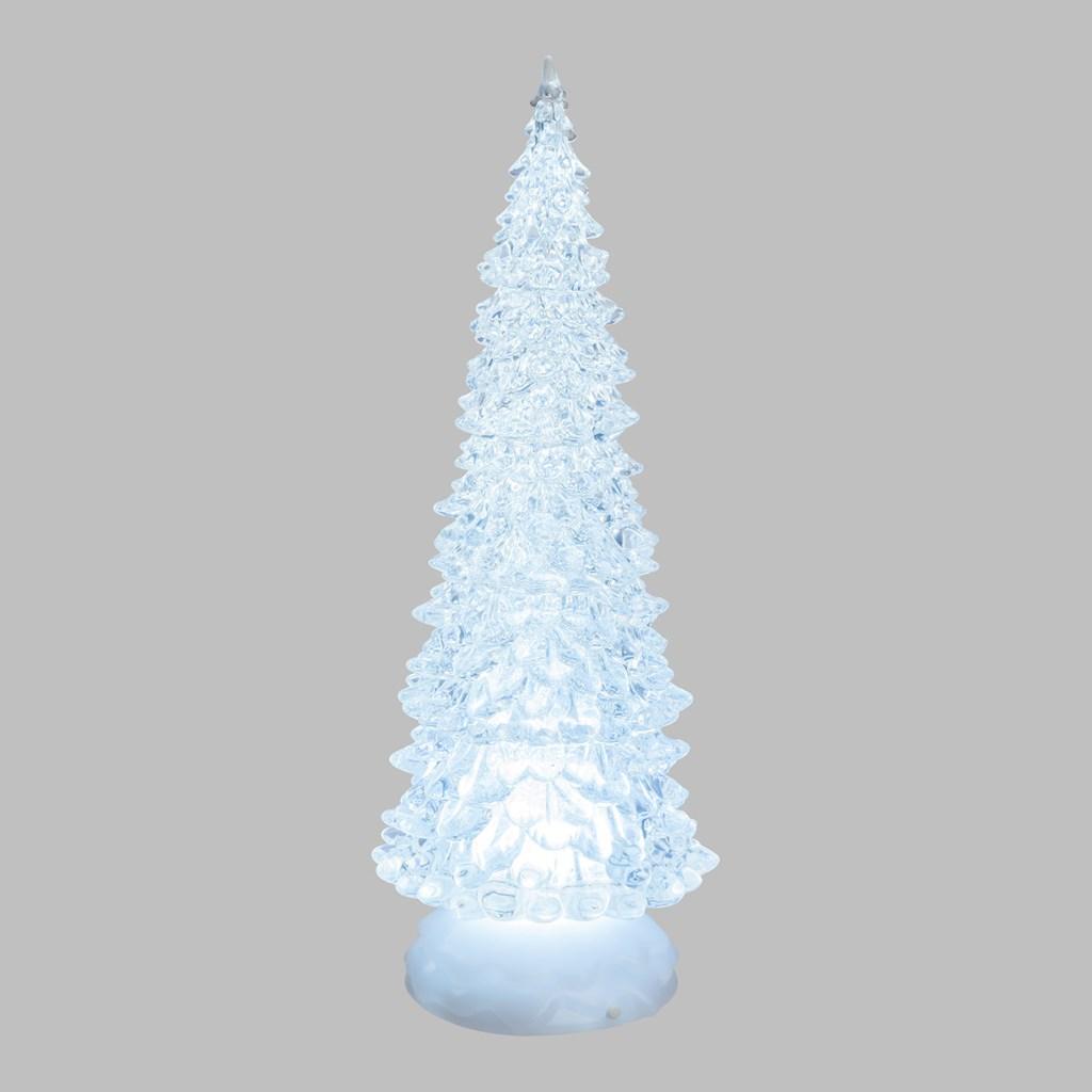 Albero Di Natale Bianco.Albero Di Natale Luminoso H 32 Cm Con Acqua Led Bianco Freddo