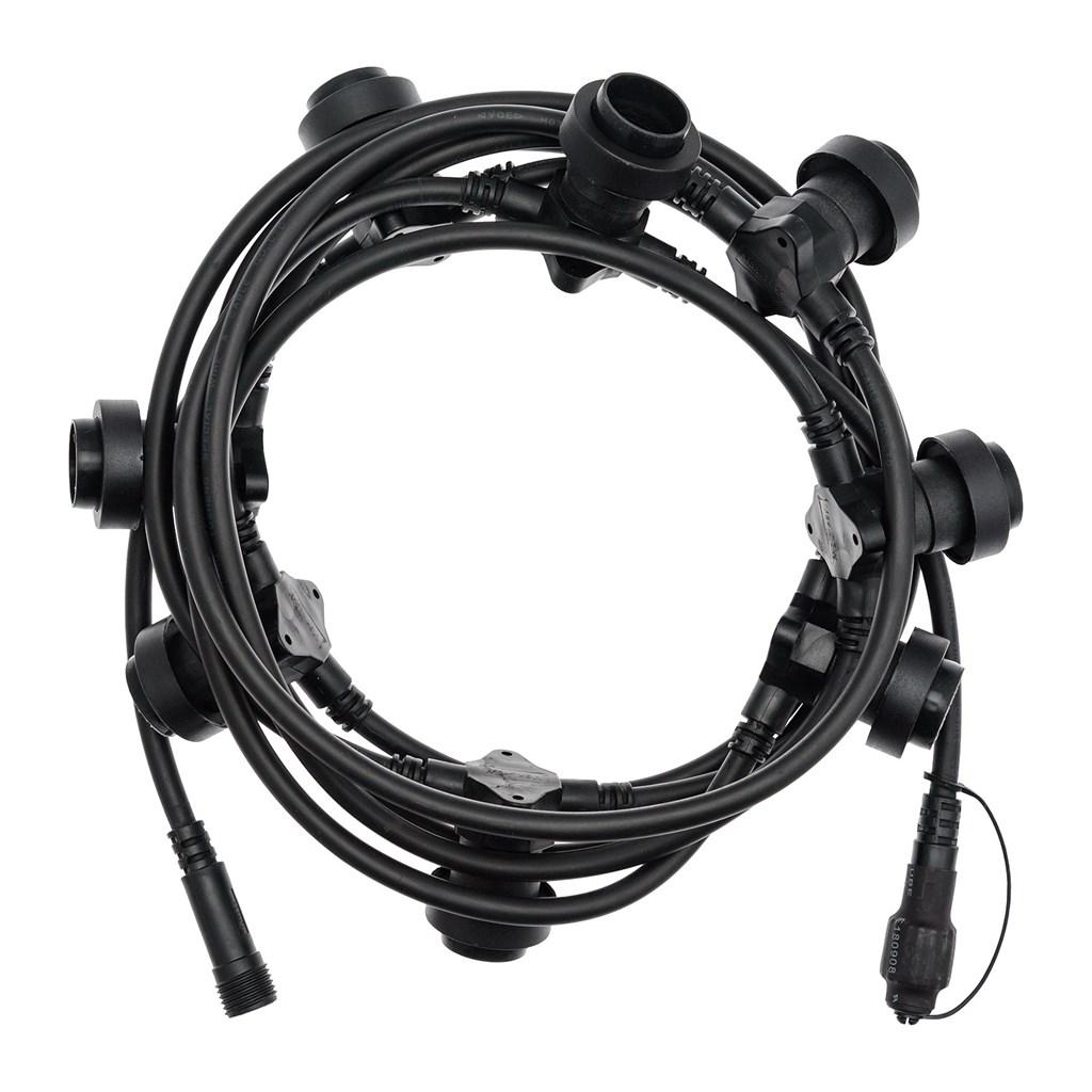 Lichterkette 5 m, 8 E27-Fassungen, schwarzes Kabel, erweiterbar ...