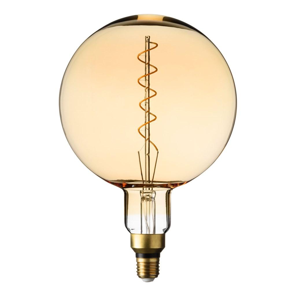 Hängende LED-Globo Birne Ø 200 mm, Spiral Filament, schwarzes Kabel ...
