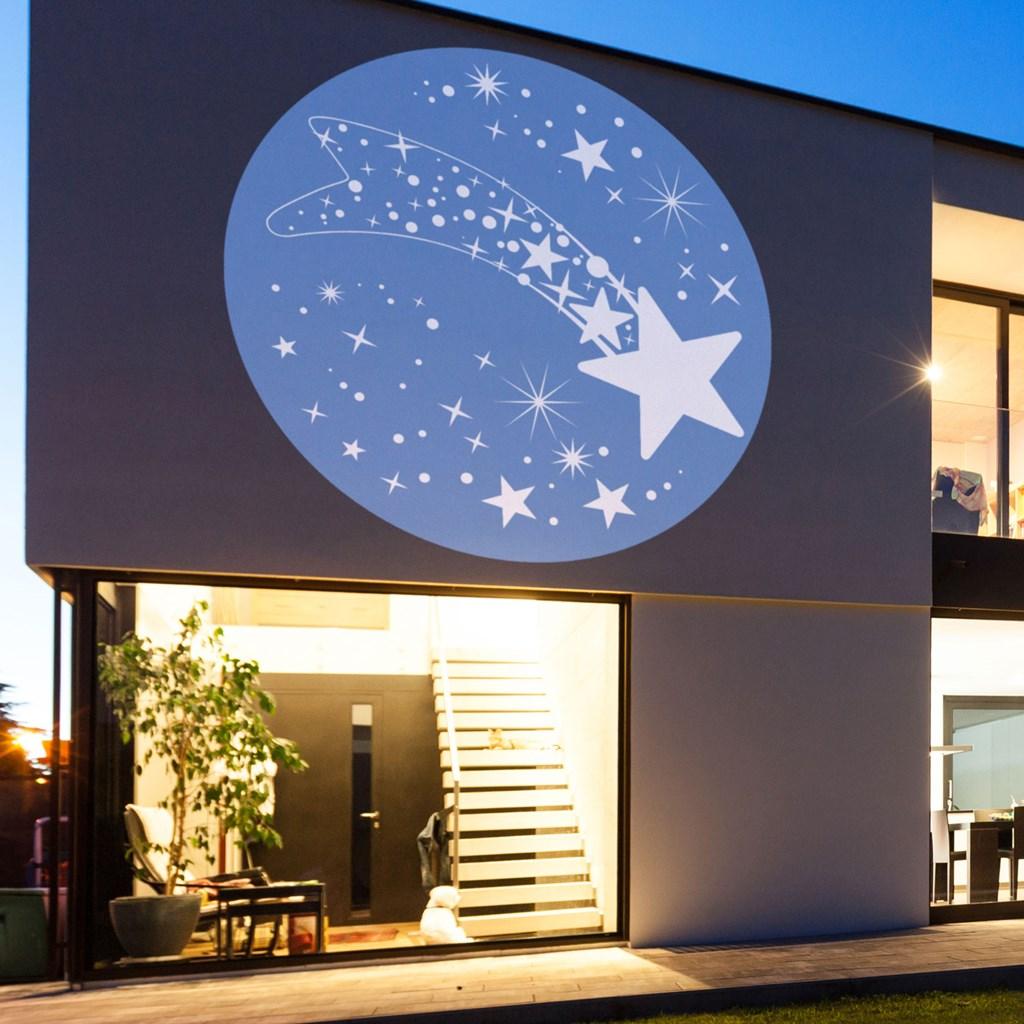 Led Weihnachtsbeleuchtung Komet.Gobo Komet Mit Sternen Weiß Und Blau