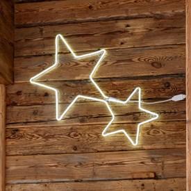 a4bf31157d8 Pareja de estrellas luminosas efecto Neón 85 x h. 50 cm