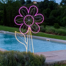 Fleur en tube néon double face h 185 cm, 960 led blanc chaud et rose