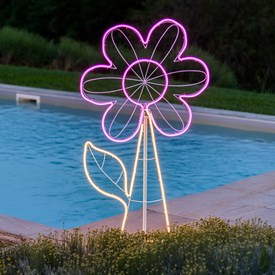 Fleur en tube néon double face h 120 cm, 576 led blanc chaud et rose