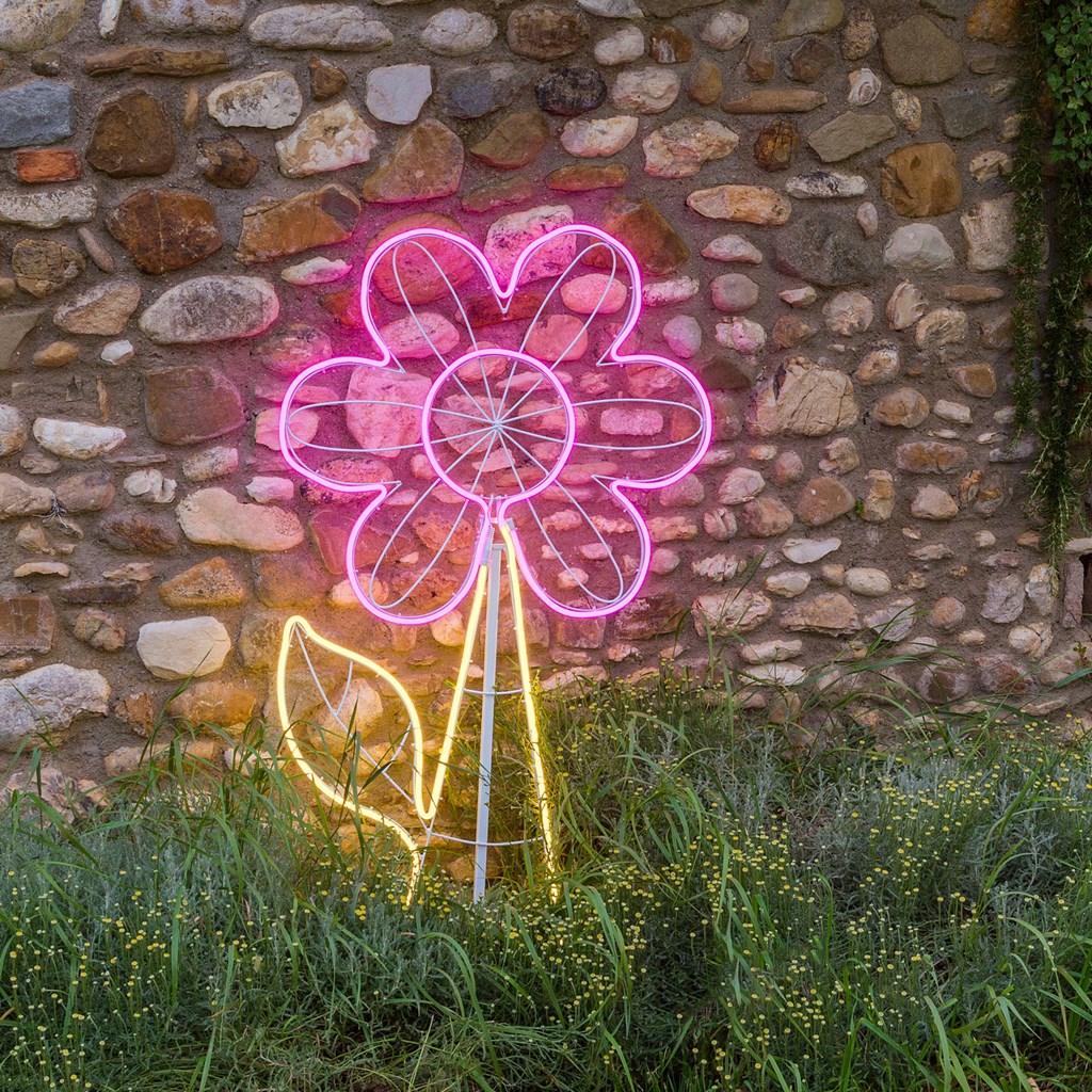 lampe fleur en tube n on double face h 120 cm 576 led. Black Bedroom Furniture Sets. Home Design Ideas