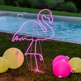 Flamant rose en tube néon double face h 115 cm, 480 led, côté gauche