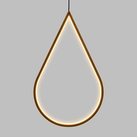 Design Wood Light, Goccia in legno naturale, 58 cm, led bianco caldo, uso interno
