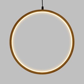 Design Wood Light, Cerchio in legno naturale, 37 cm, led bianco caldo, uso interno