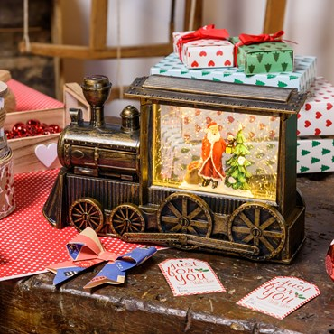 Lanterne Locomotive Train avec glitter brillant, h 17 cm, led blanc chaud