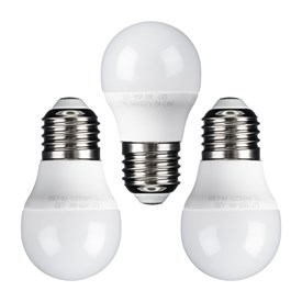Lot de 3 ampoules led Mini Sphère Ø 45 mm, E27, 6 Watt, blanc chaud, plastique blanc