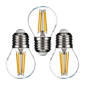 Lot de 3 ampoules Mini Sphère Ø 45 mm, E27, filament led, 4 Watt, blanc chaud, transparente