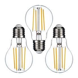 Lot de 3 ampoules forme Goutte Ø 60 mm, E27, filament led, 7 Watt, blanc chaud, transparente