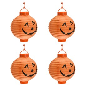4 LED Halloween Laternen Ø 20 cm, warmweiß