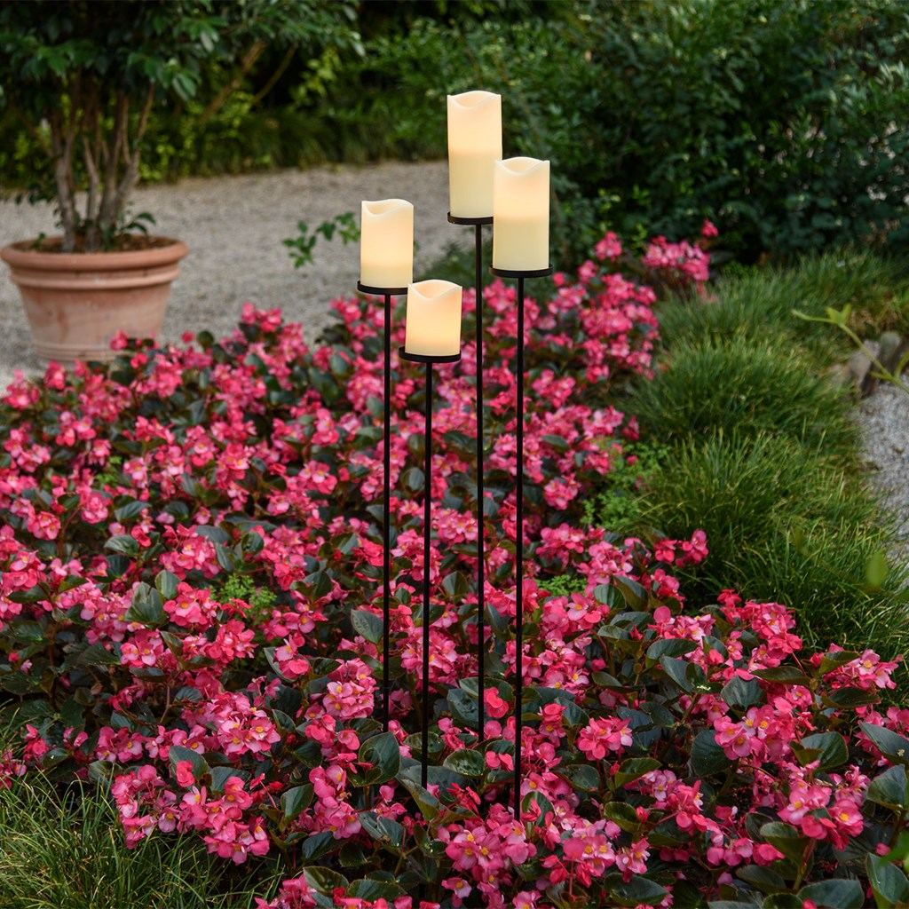 Set de 4 velas led en cera 7 5 cm con pie de jard n negro incluido velas led - Velas jardin ...