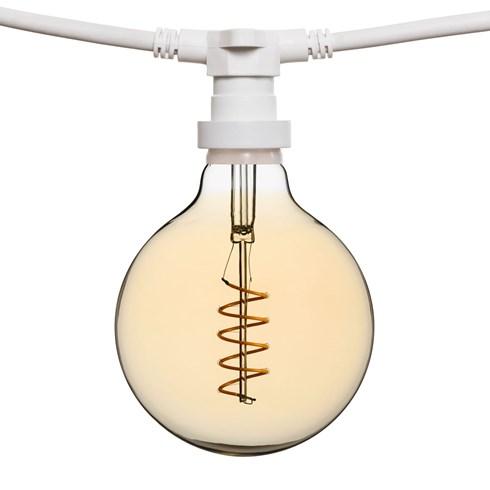 Catena 5 m di lampadine led vintage a globo Ø 125 mm, cavo bianco, 230V, prolungabile - Catene ...