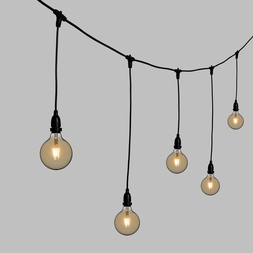 vintage lichterkette mit h ngenden led globo birnen 125 mm dimmbar h 70 cm schwarzes kabel. Black Bedroom Furniture Sets. Home Design Ideas