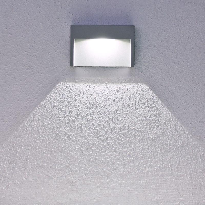 Faro da parete segnapasso a led bianco 3w grigio chiaro for B w da esterno
