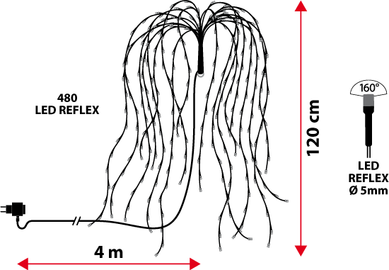 ramo di salice bianco  h 120 cm  480 led bianco caldo