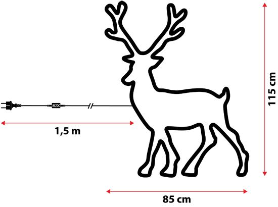 renna in tubo luminoso  85 x h 115 cm  840 led bianco