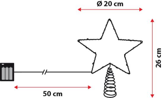 Baumspitze silberdraht stern h 26 cm 20 micro leds kaltwei batteriebetrieben 3d lichtmotive - Led baumspitze stern ...
